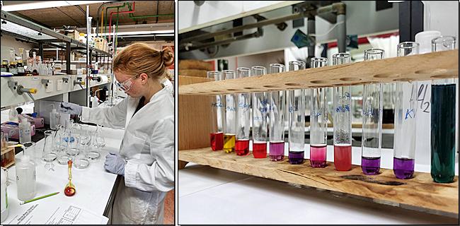 links: Säure-Base-Titration, rechts: Farbzauberei im Reagenzglas