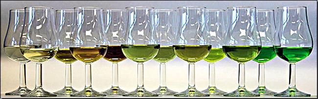 Abbildung 1: Die untersuchten Proben im Glas