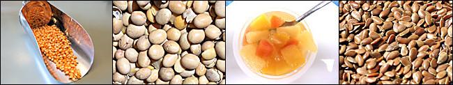 Mais, Soja, Fruchtkonserve mit Papaya, Leinsamen