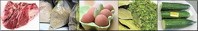 Fleisch, Futtermittel, Eier, Blattgewürze, Gurken