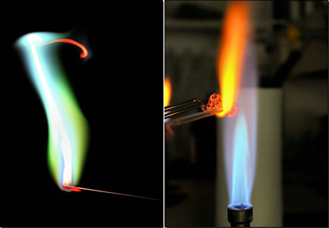 links: Flammenfärbung, rechts: Glasbearbeitung