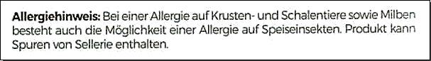 Speiseinsekten, Allergenhinweis