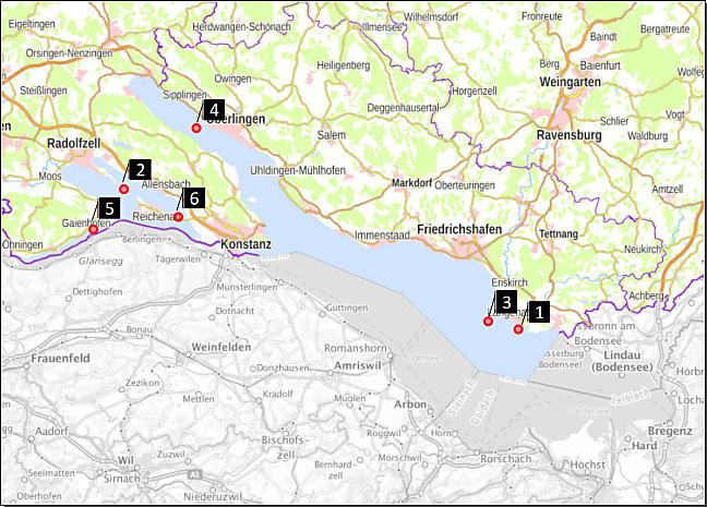 Abbildung 2: Übersicht der Probenahmestellen im Obersee (1, 3 und 4) bzw. im Untersee (2, 5 und 6) des Bodensees (Untersuchungsprogramm 2020). Bildquelle: Geoportal Baden-Württemberg